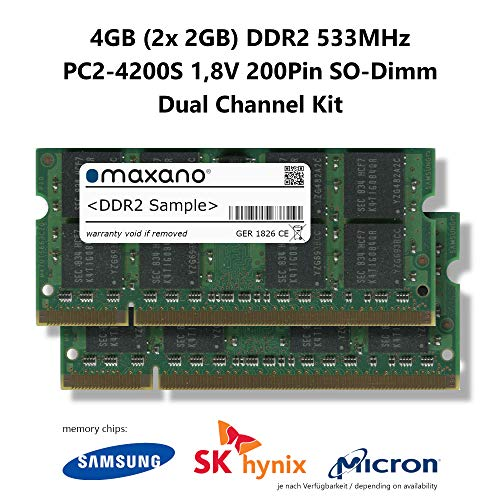 Maxano 4GB Dual Channel Kit (2X 2GB) DDR2 533MHz PC2-4200S SO Dimm 200Pin Unbuffered Non-ECC 1,8V Arbeitsspeicher RAM Memory