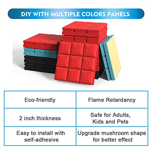 Webetop Acoustic Foam Adhesive Panels 2 inch Thickness Sound Proof Foam Panels 12 Pack Set 2