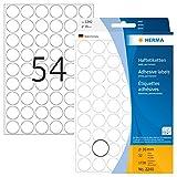 HERMA 2240 Vielzweck-Etiketten / Farbpunkte rund (Ø 16 mm, 32 Blatt, Papier, matt) selbstklebend, permanent haftende Markierungspunkte zur Handbeschriftung, 1.728 Klebepunkte, weiß