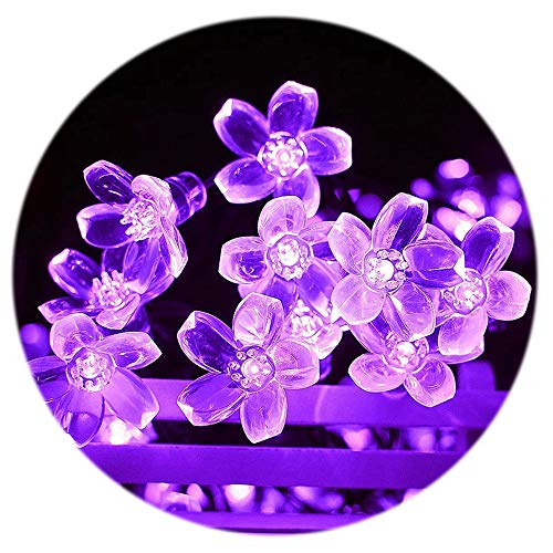 Flower String Lights, Sakura Lights, Cute Room Decor Plug in 33Ft 100LEDs Waterproof Christmas Decorative Lights, for Garden Wedding Party Holiday Patio Lawn Gazebo Home Indoor Outdoor, Purple