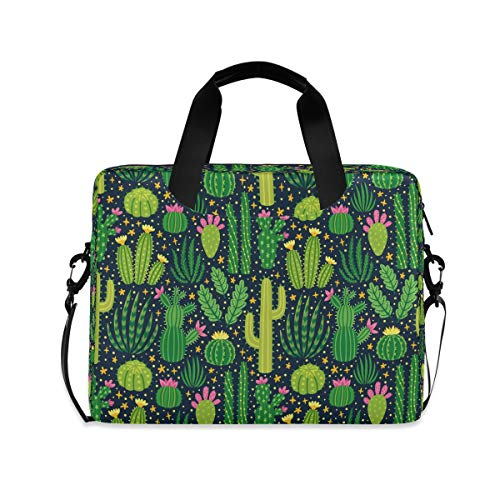 HMZXZ Bolsa de ordenador portátil con estampado de cactus de flores tropicales para portátil de 13 14 15.6 pulgadas de ordenador de tabletas maletín de transporte bolsa de hombro para trabajo escolar