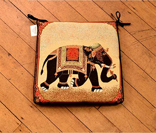 Luxury Indian Raj Elephant Animal Woven Tapestry Square Shape Garden, Chair Seat Pad, Incl Ties, Kitchen, Dining 40cm x 40cm (16' x 16') UK Made By Littens