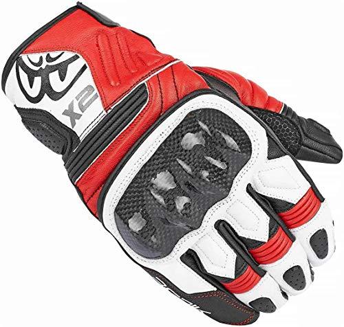 Berik NexG Guantes cortos de cuero para motocicleta (negro/blanco/rojo, S)