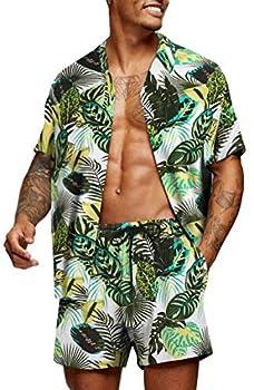 COOFANDY Men s Hawaiian Set Casual Floral Print Shirt Summer Shirt and Shorts White