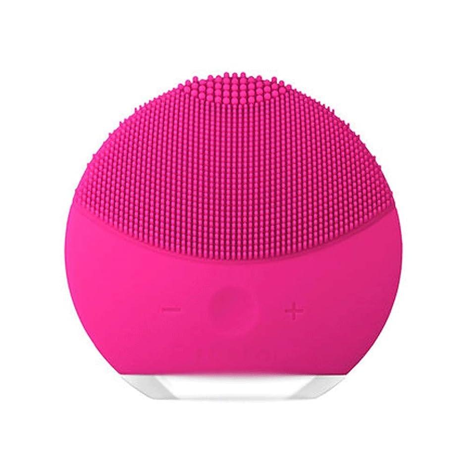 より良いスキッパー混雑HEHUIHUI- クレンジングブラシ、ディープクレンジングフェイシャル、防水性と振動性のクレンジングブラシ、アンチエイジング、優しい角質除去とマッサージ(ピンク) (Color : Red)