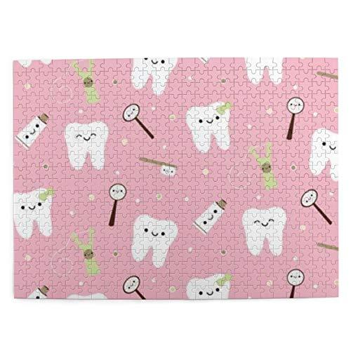Pasta de Dientes de Tela Dental Puzzle de 500 Piezas Rompecabezas para Adultos y niños Juego de Cerebro Pintura Lienzo Arte de la Pared Decoración Regalo Decoración para el hogar 20.4X15 (Pulgadas)