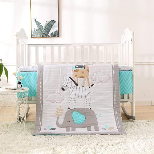 Biancheria da letto per bambini, set da 3 pezzi, con gonna – Piumone 80 x 100 cm – paracolpi, paracolpi in cotone – Biancheria da letto per bambini OekoTex (bianco)