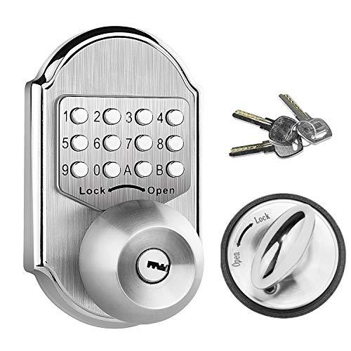 Elemake Keyless Deadbolt Mechanical Keyless Entry Door Lock Deadbolt Keypad Stainless Steel (Pass Code, Key and Higher Security)