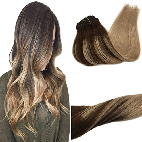 GOO GOO Hair Extensions Clip in Ombre Chocolate Brown Highlighted Ash Blonde Remy Clip in Human Hair Extensions Thick Straight Real Hair Extensions 18 inch 7pcs 120g