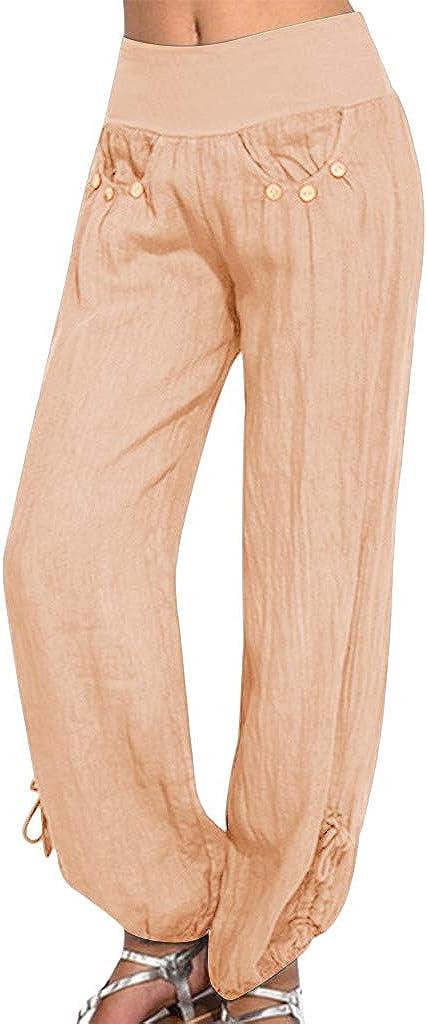 UBST Harem Pants for Women, Women's Linen Athletic Joggers Pants Comfy Drawstring Workout Palazzo Lounge Pants Trousers