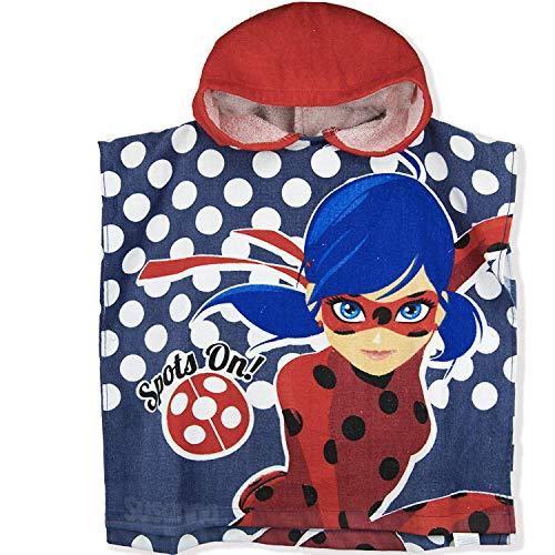 Wonderbaarlijke LadyBug officiële licentie meisjes capuchon katoen Poncho handdoek. Perfect voor bad en strand - zwart