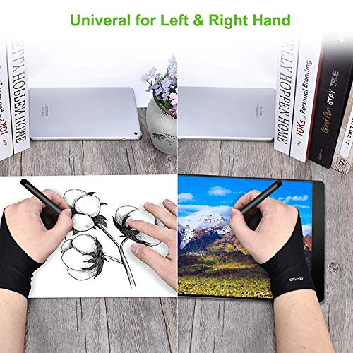 OTraki 4pcs Two Finger Artist Gloves Anti Smudge Graphic Drawing Glove for Tablet Pad Monitor Painting, Paper Sketching, Universal for Left and Right Hand - 3.54 x 8.46 inch