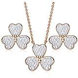 DYD Trébol Conjunto de Joyas Oro Rosa Plateado Adornado con Cristales de Swarovski, Collar y Aretes para Mujer Regalo de Joyería para Mujer con Forma, Blanco