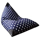 Stuffed Animal Storage Bean Bag Chair for Kids and Adults. Premium Canvas Stuffie Seat - Cover ONLY (Navy with White Stars 200L/52 Gal)