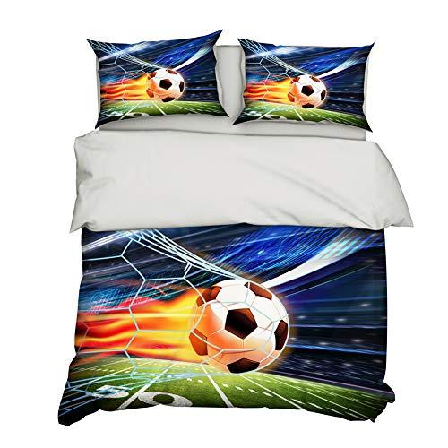 AYMAING FUßBALL Kinderbettwäsche Jungen Bettwäsche · Fussball, Tor & Goal · Wendebettwäsche · grün - Kopfkissenbezug 80x80cm + Bettbezug 135x200 cm - Mikrofaser -Jugend-Bettwäsche