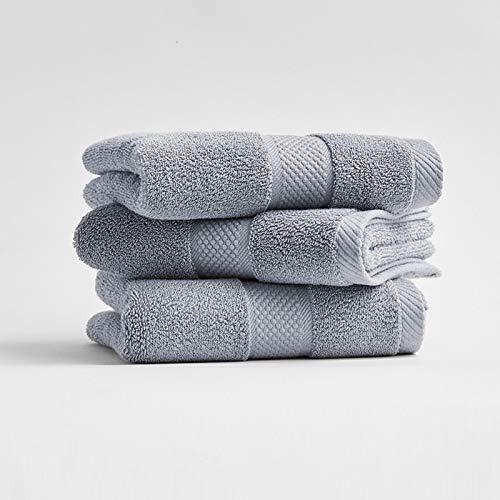 Toalla de baño 100% algodón súper suave de alta absorción con turbante toalla de playa toalla de niños toalla de cara para adultos 34*74 gris oscuro 3 paquetes