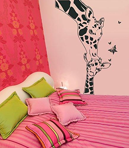 ilka parey wandtattoo-welt Sticker Mural Bébé Girafe Girafe Papillon Papillons Girafe Animaux Stickers Muraux Sticker Mural M663