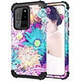 Hocase Galaxy S20 Ultra Case, Heavy Duty Shockproof Protection Hard Plastic Bumper+Soft Silicone Rubber Hybrid Protective Case for Galaxy S20 Ultra 5G (6.9-inch Display) 2020 - Colorful Lace Flowers