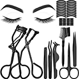48 Pieces Eyelash Curler Makeup Tools Set, include Mini Eyelash Curler Kit, Eyebrow and Eyelash Extension Tweezers, Eyelash Eyebrow Brush Comb and Eyelashes Scissors, Silicone Refill Pads (Black)