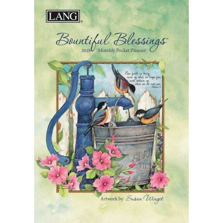 """LANG - 2018 Monthly Pocket Planner - """"Bountiful Blessings"""" - Artwork By Susan Winget - 13 Month - January to January - Portable 4.5"""" x 6.5"""""""