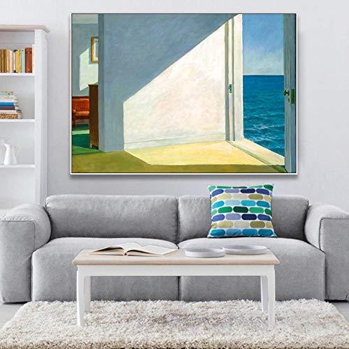 MXK Habitaciones por el mar Paisaje reproducción de Arte Lienzo impresión Pintura Cartel Arte Pared Cuadros para Sala de Estar decoración del hogar 50x70cm sin Marco