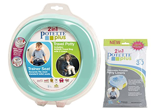 Kalencom 2 in 1 Potette Plus Portable Potty Training + Travel Toilet Seat with 30 Potty Liners Bundle, Teal