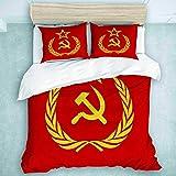 Funda nórdica, icono del comunismo de la URSS, martillo y hoz y ramas soviéticas, hojas, estrella roja, logotipo de la Unión, bandera, símbolo del socialismo, ligero, suave, 3 piezas con lazos para ni