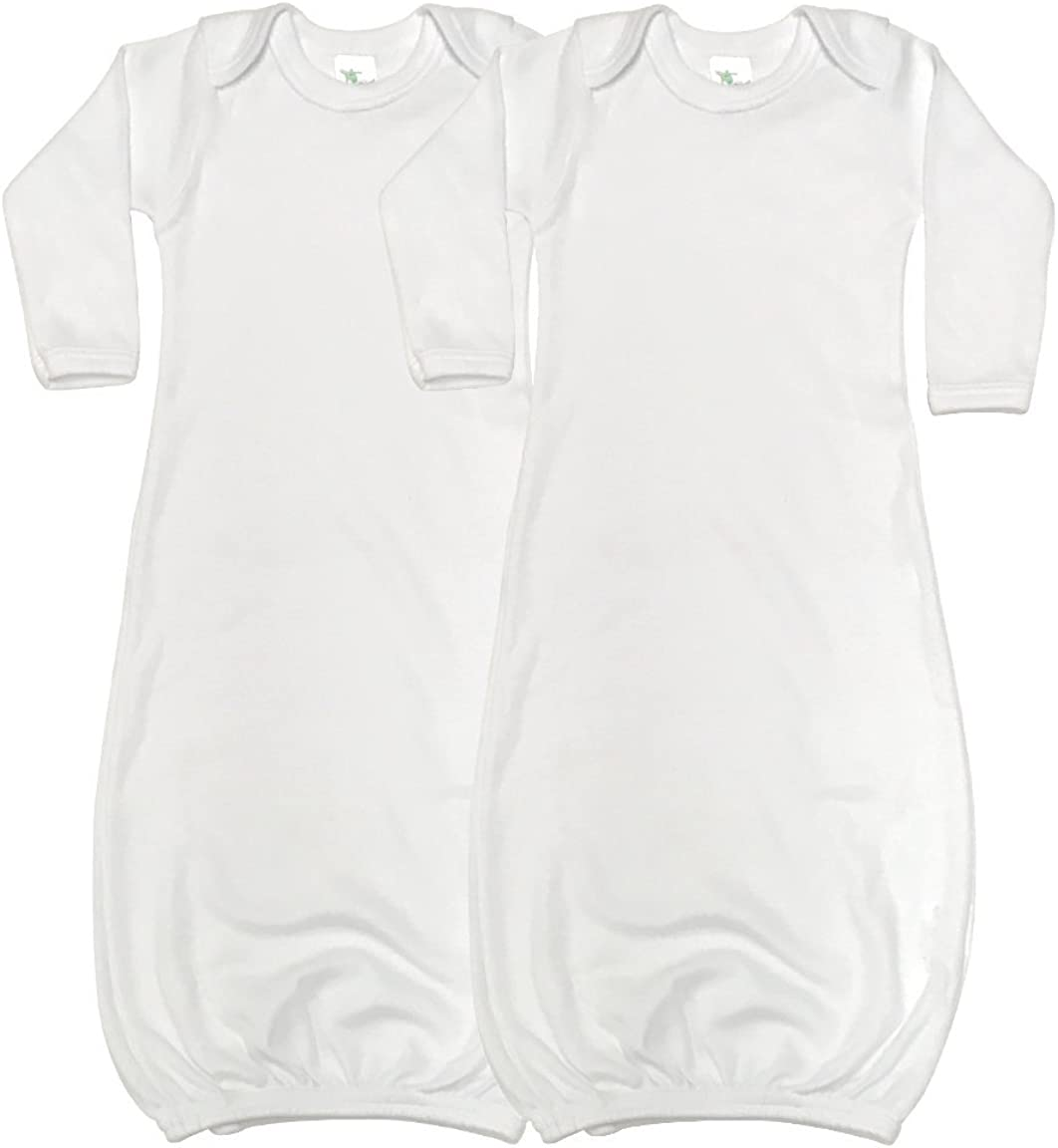 Laughing Giraffe Baby Long Sleeve Sleeper Gowns (Set of 2 -LG3800) White