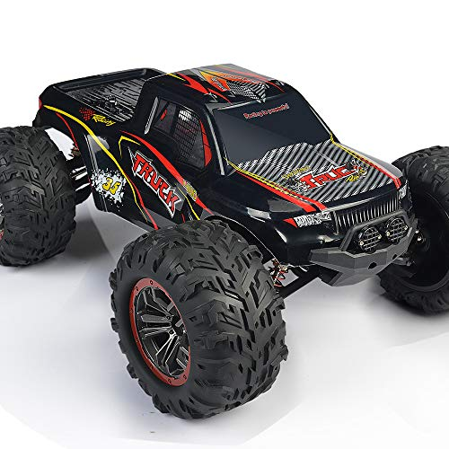 1:10 Large Remote Control Car, INGQU 45+KM/H High Speed Off Road Remote Control Monster Truck, All Terrain Waterproof Racing RC Cars, 2.4GHz 4WD RC Trucks for Boys, Toys for Kids & Adults (Black)