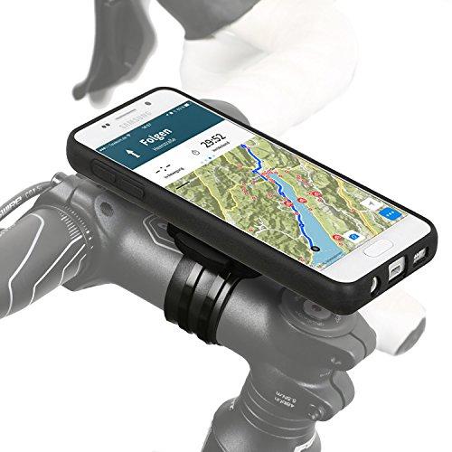QuickMOUNT 3.0 Kit für Samsung Galaxy A3 (Modell 2016 / SM-A310) Fahrradhalterung & Case mit IPx3 Schutzhülle (Wicked Chili Fahrradzubehör mit Ladekabel- und Kopfhörer Anschluss) matt schwarz
