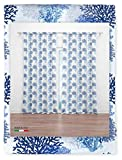 Tex family Cortina coral azul 160 x 300 cm confeccionada en Italia, mezcla de lino