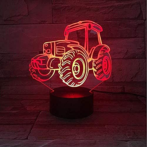 Tracteur 3D Light Night Light Mobile Power Usbled Light Illuminated Bedroom Light has 7 Colors The Best June Children's Day