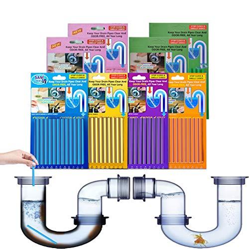 Drain Cleaner Sticks, 96 unidades de limpiador de tuberías, limpiador enzimático para tubos obstruidos en el baño, la ducha y la cocina, limpiador de tuberías, limpiador de desagüe para fregadero