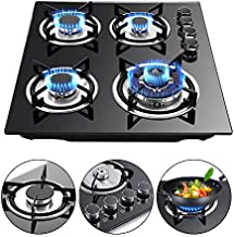 LFJD 23.3'' Built-in 4 Burners Gas Cooktop Stove Cook Top with LPG/NG Conversion Kit w/Tempered Glass Gas Hob Panel Easy to Clean