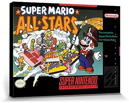 Nintendo 1art1 Super Super Mario Allstars Bilder Leinwand-Bild Auf Keilrahmen   XXL-Wandbild Poster Kunstdruck Als Leinwandbild 40 x 30 cm