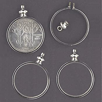 Coin Holder Bezel 25 Cent/USA Quarter silvertone ~ for Charm Necklace Pendant Display  Pack of 4