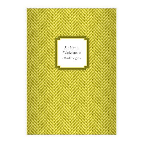 Retro DIN A4 schoolschrift, schrijfboekje met algenpatroon in beige groen liniatuur 27 (gelinieerd boekje) 16 Hefte mit Namen Mosterd geel