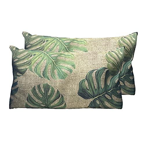 Fabnish Juego de 2 fundas de cojín decorativas, aspecto de lino, para salón, cocina, jardín, eventos (hoja verde, 30 x 50 cm)