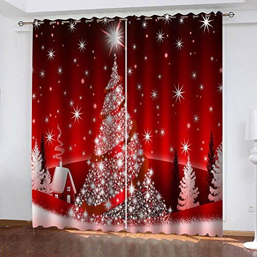 LJUKO Cortina Opaca En Cocina El Salon Dormitorios Habitación Infantil 3D Impresión Digital Ojales Cortinas Termica - -Arbol De Navidad Rojo