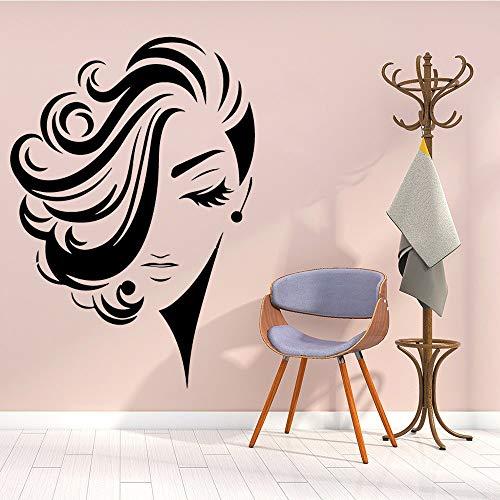 JXMN Belleza de Pelo Largo Pegatinas de Pared Vinilo Impermeable decoración del hogar Tatuajes de Pared decoración de la habitación 56x80 cm