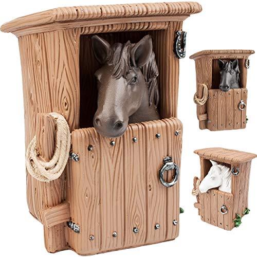alles-meine.de GmbH große XL Spardose - Pferd im Stall - weiß / schwarz / braun - mit Verschluss - stabile Sparbüchse - aus Kunstharz / Polyresin - Sparschwein - für Kinder & Erw..