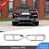 304 Stainless Steel Car Exhaust Tail Pipe Cover Trim For For 7 Series G11 G12 730 740 750i 2016 2017 2018 (silver)