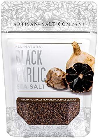 SaltWorks Natural Fusion Black Garlic Flavored Sea Salt 4 Ounce product image