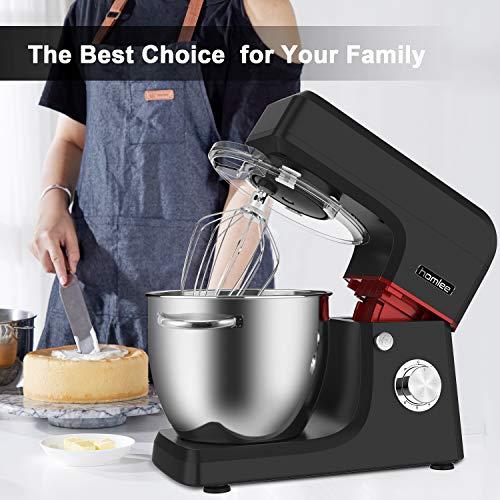 Homlee 1800W Küchenmaschine Hohe Energie Knetmaschine 6.5 Liter-Rührschüssel, Geräuschlos 6-stufige Geschwindigkeit Teigmaschine, spülmaschinengeignet (Schwarz) - 8