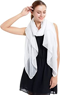 Women's Long Scarf Solid Color Large Sheer Shawl Wraps for Evening