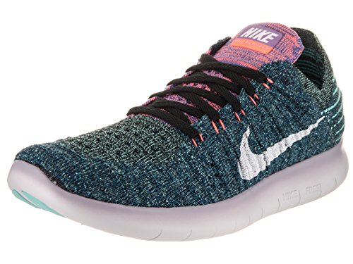 Nike Women's Free Running Motion Flyknit Shoes, Black/White Bright Mango - 6 B(M) US