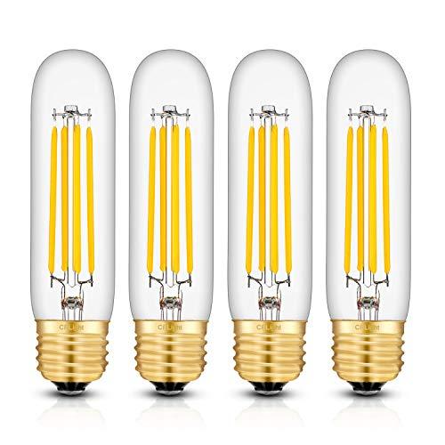 CRLight 8W Dimmable LED Tubular Bulb 80W Equivalent 800LM, 3000K Soft White E26 Medium Base, Vintage Edison Style T30 x 125MM Tubular Clear Glass Lengthened Filament LED Light Bulbs, 4 Pack