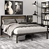 SHA CERLIN Queen Size Bed Frame with Industrial Wooden Rivet Headboard/Splash Platform Bed Frame with 13 Strong Metal Slats Support/Noise Free/Easy Assembly/Rustic Brown