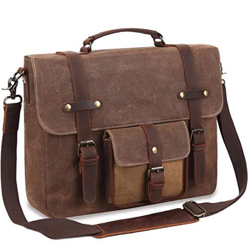 Mens Messenger Bag Waterproof Vintage Canvas Briefcase 15.6'' Leather Laptop Bag