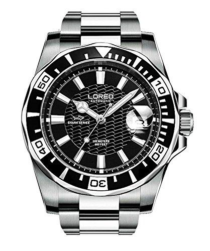 Loreo para hombre GMT Plata Cristal de zafiro negro bisel giratorio para hombre FECHA automática de acero inoxidable relojes